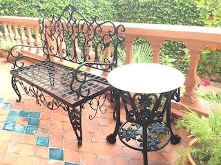Salle manger en fer forg table fer forg mobilier de for Mobilier de jardin en fer forge