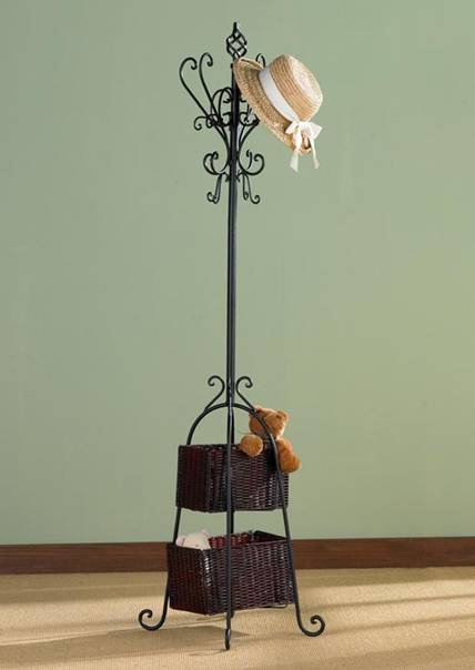 wrought iron coat rack, perchero de hierro forjado, appendiabiti