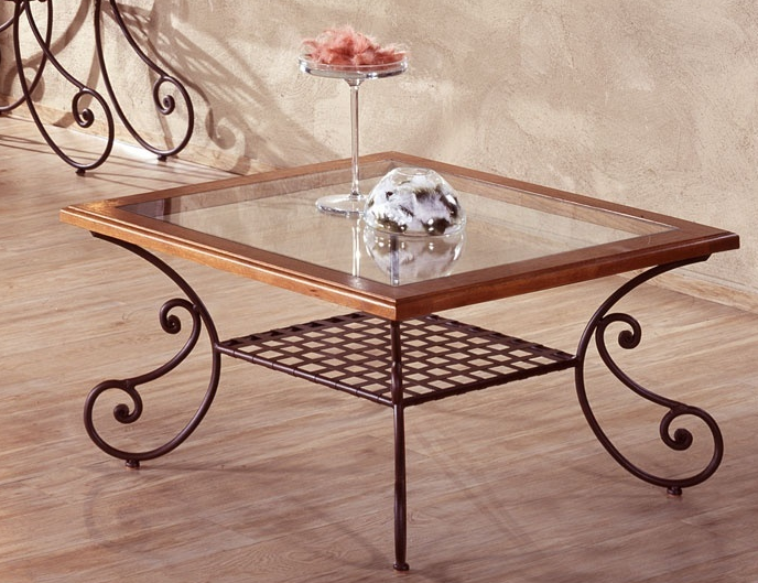 Table basse en fer forg table intrieur dcoration - Table basse en fer et bois ...