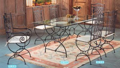 Table de salle a manger en fer forg sala da pranzo tavolo for Chaise de salle a manger en fer forge