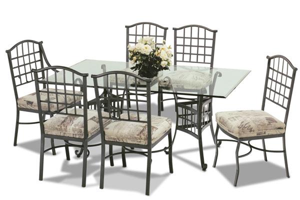 Table de salle a manger en fer forg sala da pranzo tavolo for Salle a manger fer forge et verre