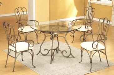 Table de salle a manger en fer forg sala da pranzo tavolo for Salle a manger fer forge et bois